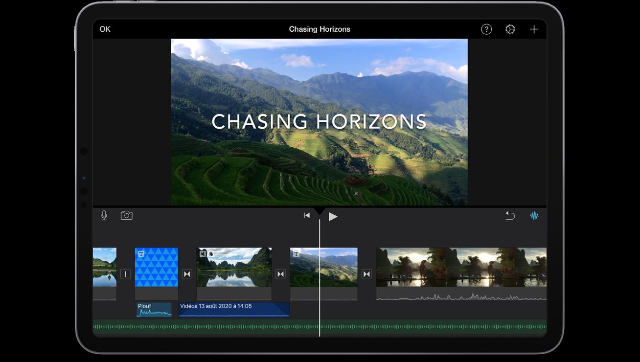 Un projet de film dans iMovie sur un iPad.