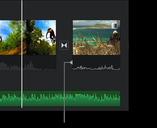 Indicateur de coupe de division apparaissant dans la partie audio d'une transition dans la timeline.