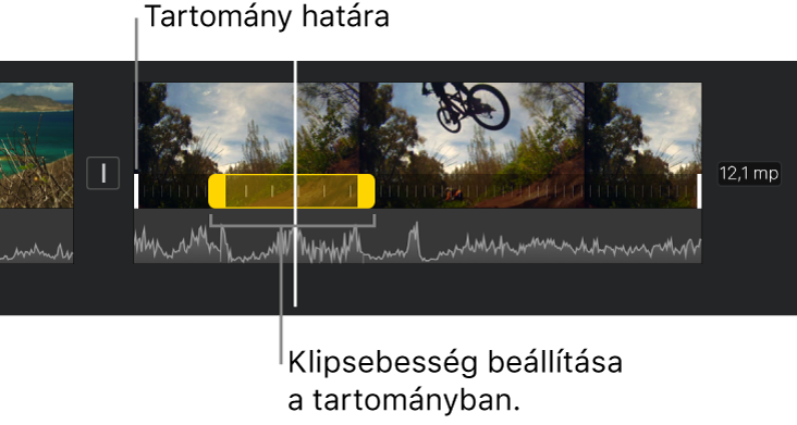 Sebességtartomány sárga fogantyúkkal egy videoklipben az idővonalon, továbbá fehér vonalakkal, amelyek a tartomány szegélyeit jelzik.