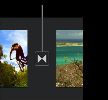 タイムライン内の2つのクリップ間のトランジションを示すアイコン。