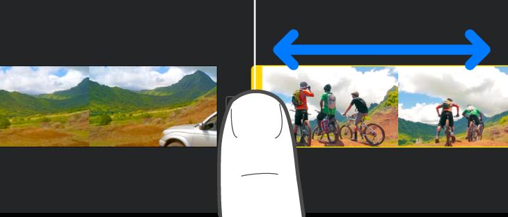 项目时间线中正在修剪的片段。