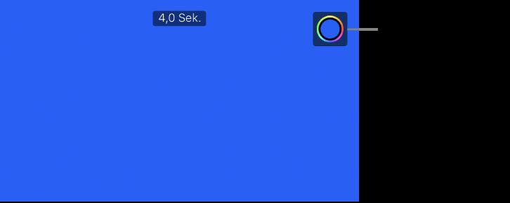 """Der Vorschaubereich zeigt einen blauen Hintergrund und oben rechts die Taste """"Farbe""""."""