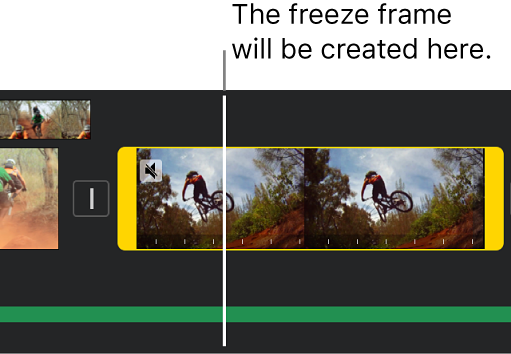 A video clip in the timeline with yellow range handles at each end, and the playhead positioned where the freeze frame will be added.