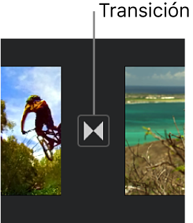 Icono que indica una transición entre dos clips en la línea de tiempo.