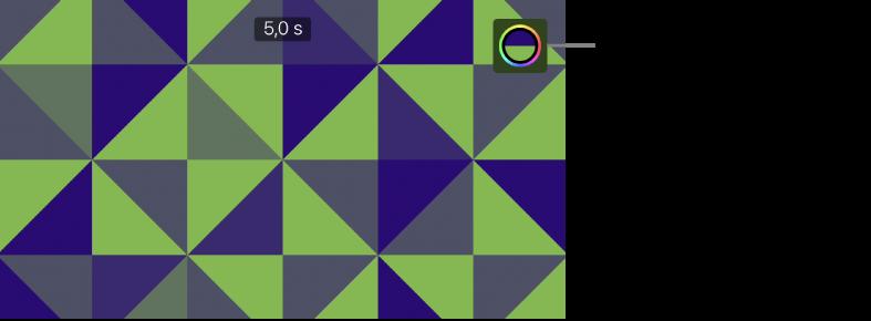 Le visualiseur affichant un arrière-plan à motifs vert et bleu et le bouton Couleur dans le coin supérieur droit.