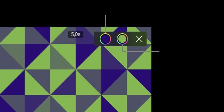 A megtekintő, amelyben egy zöld és kék mintás háttér látható, a jobb felső sarokban pedig az elsődleges és a másodlagos Szín gomb.