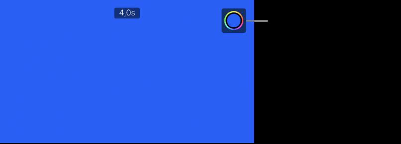 A megtekintő, amelyben egy egyszínű kék háttér látható, a jobb felső sarokban pedig a Szín gomb.