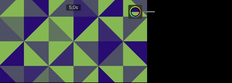 A megtekintő, amelyben egy zöld és kék mintás háttér látható, a jobb felső sarokban pedig a Szín gomb.