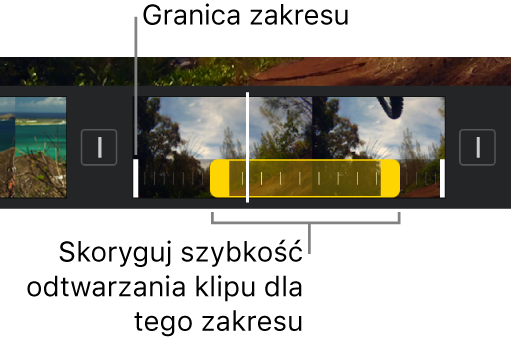 Zakres szybkości odtwarzania zżółtymi uchwytami zakresu na klipie wideo na linii czasowej. Białe linie na klipie wskazują granice zakresu.