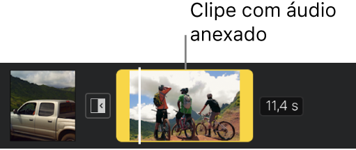 Clipe de vídeo com áudio anexado na linha do tempo.