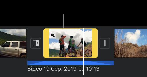 Відеокліп на часовій шкалі з позначеним синім відокремленим аудіокліпом нижче.