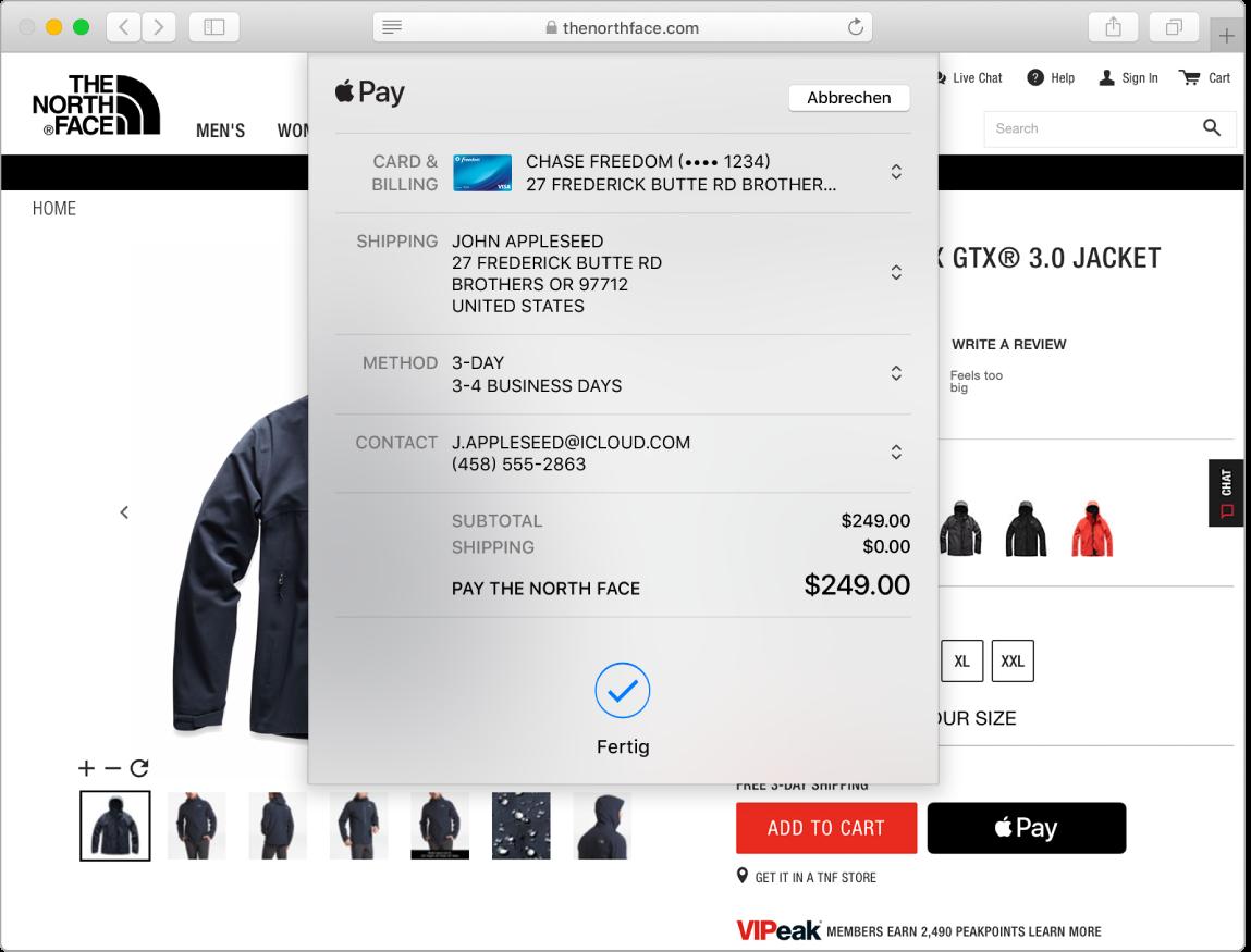 """Ein Mac-Bildschirm mit einem mit der Option """"Apple Pay"""" getätigten Online-Kauf in Safari"""