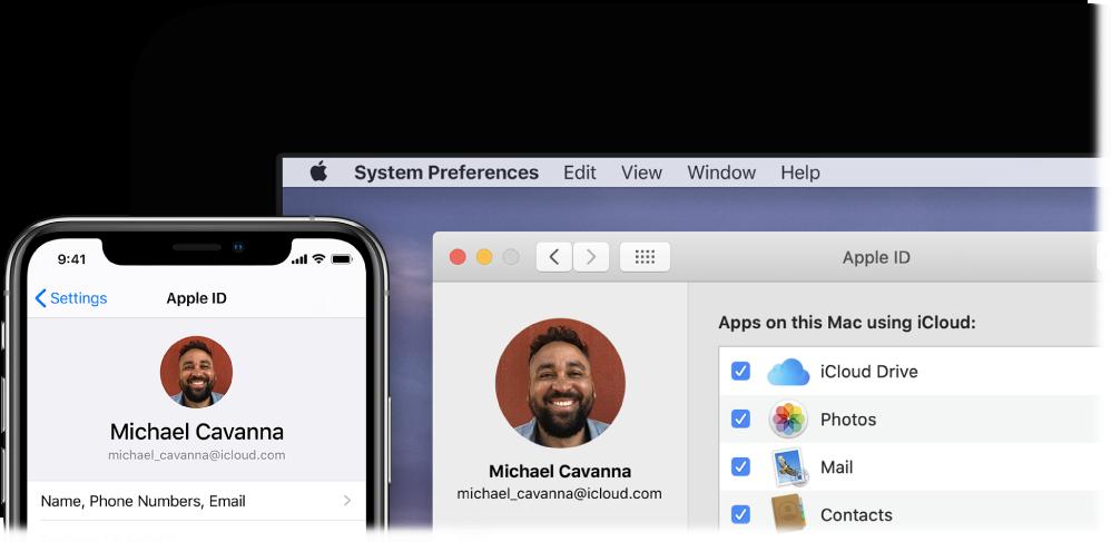An iPhone showing iCloud settings, and a Mac screen showing the iCloud window.