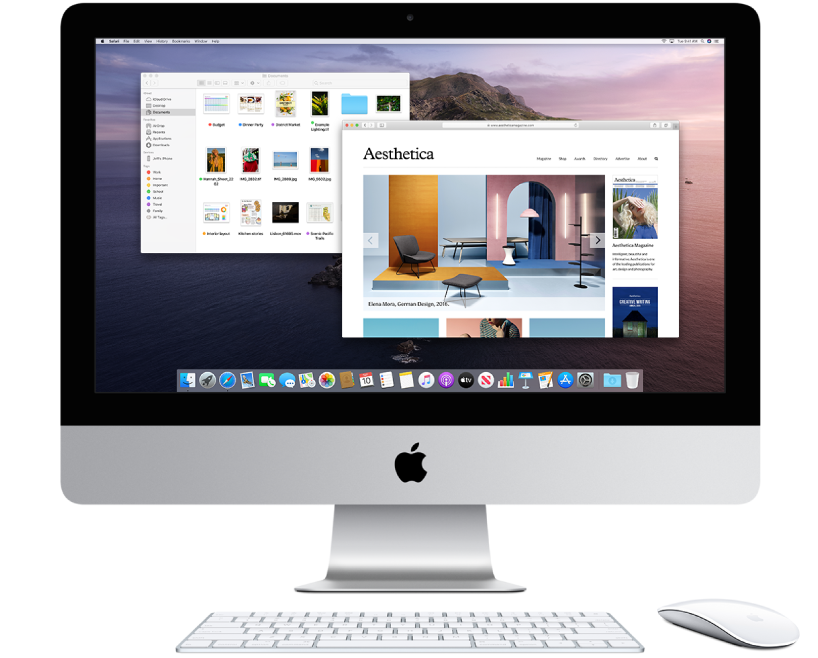 iMac display with two windows opened.