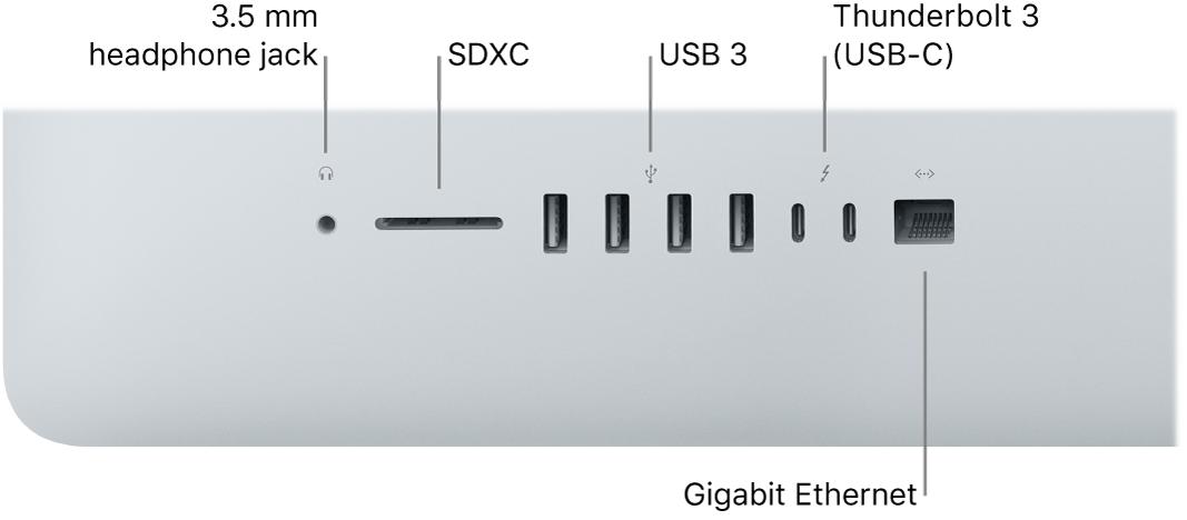 An iMac showing the 3.5 mm headphone jack, SDXC slot, USB3 ports, Thunderbolt3 (USB-C) ports, and Gigabit Ethernet port.