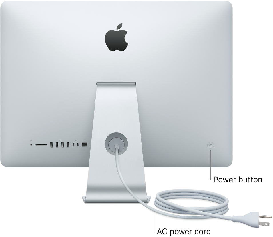 Back view of iMac showing the AC power cord and the power button.