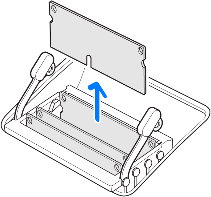 An illustration showing how to remove a memory module.