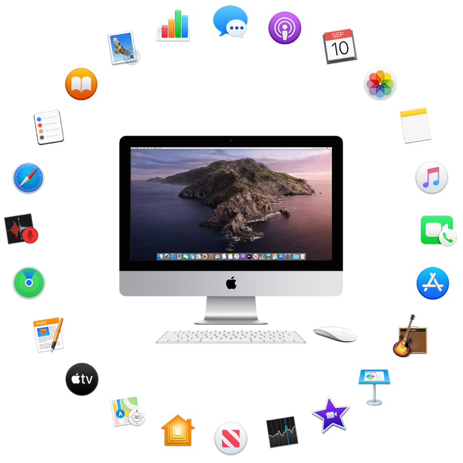 An iMac surrounded by the icons for the built-in apps described in the following sections.
