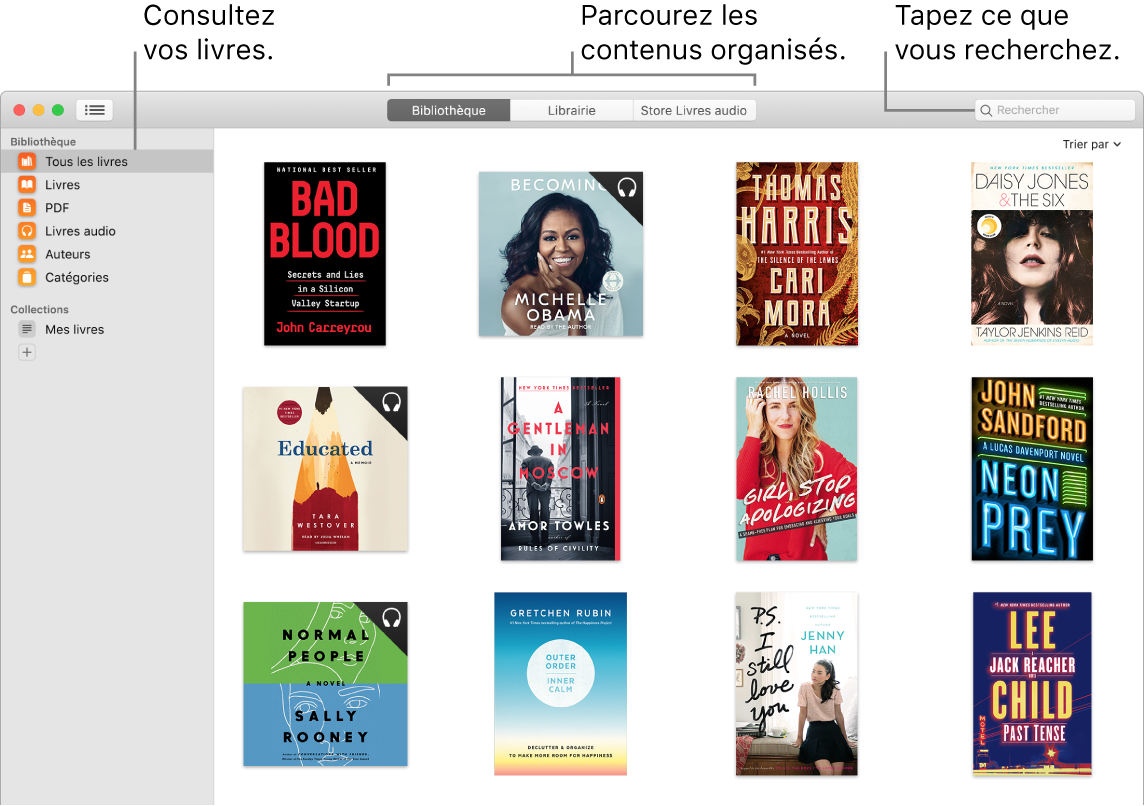 Une fenêtre de l'app Livres montrant comment afficher des livres, parcourir les éléments filtrés et effectuer des recherches.