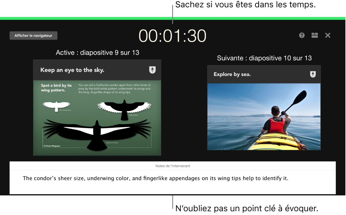 Fenêtre de Keynote illustrant la fonctionnalité Tester le diaporama.