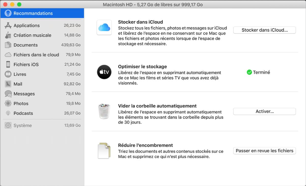 Les préférences Recommandations pour le stockage, présentant les options Stocker dans iCloud, Optimiser le stockage, Vider la corbeille automatiquement et Réduire l'encombrement.