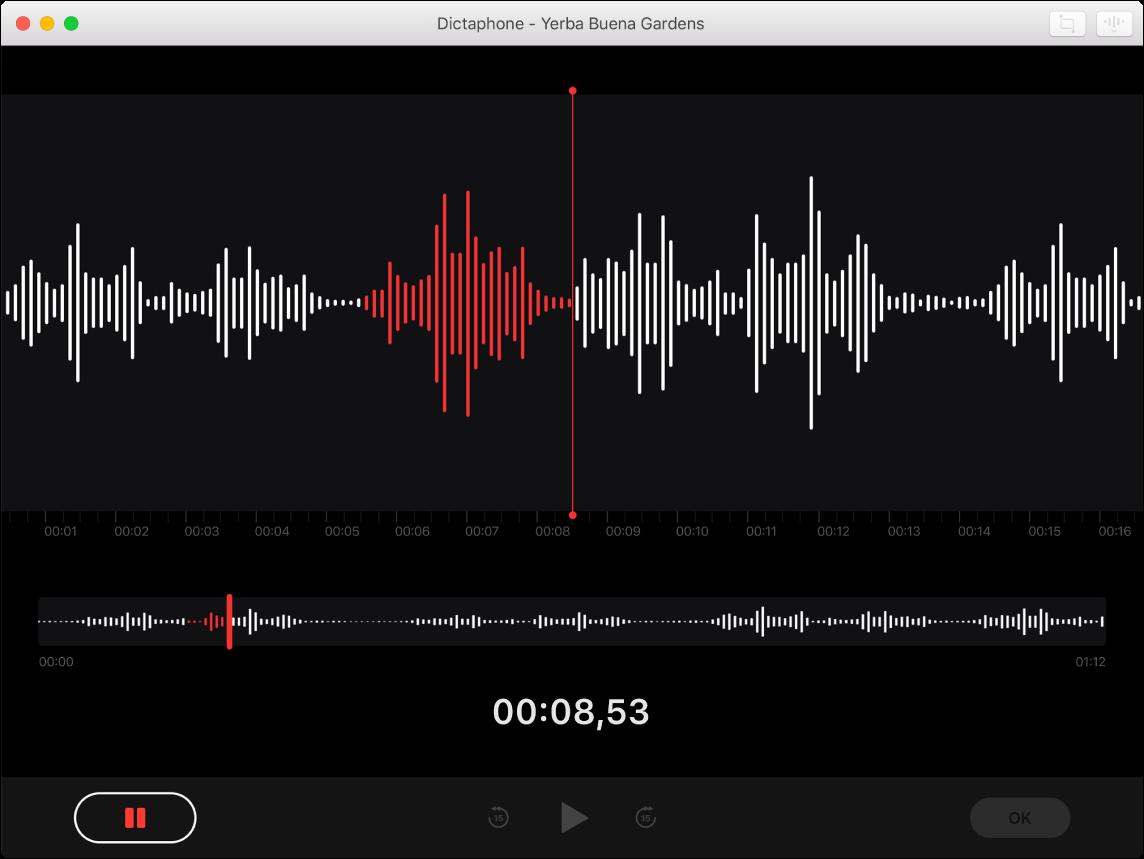 Une fenêtre de Dictaphone affichant un enregistrement en cours.