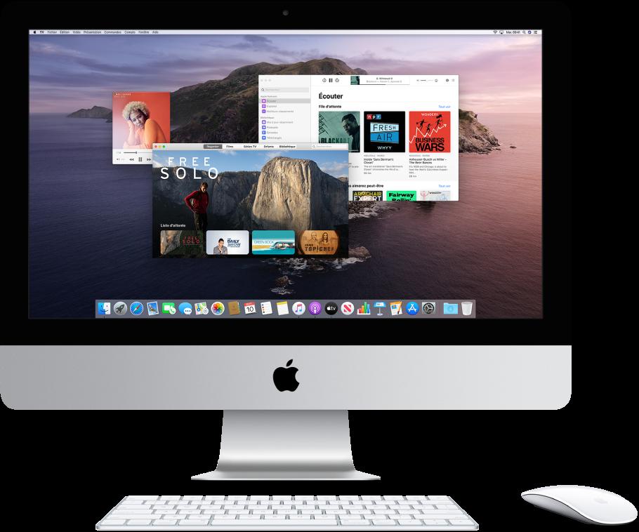 Un bureau d'iMac affichant les fenêtres Musique, TV et Podcasts ouvertes.