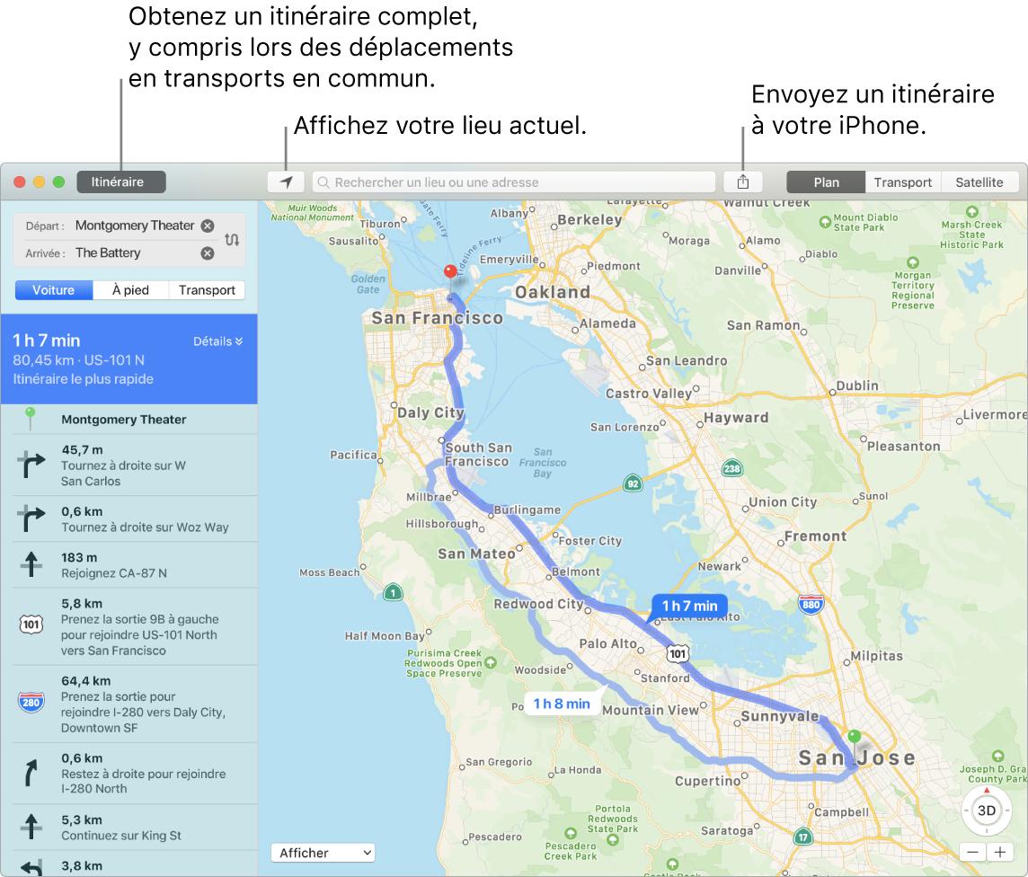 Une fenêtre de Plans indiquant comment obtenir un itinéraire en cliquant sur Itinéraire en haut à gauche et envoyer l'itinéraire à un iPhone à l'aide du bouton Partager.