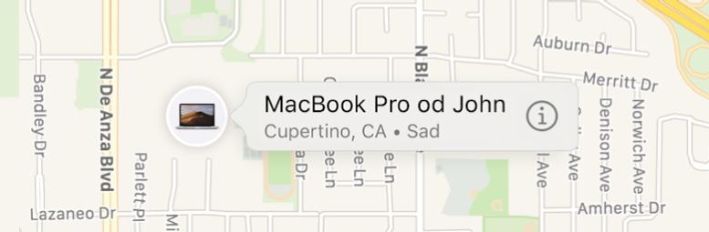Krupni plan ikone Informacije za Ivanov MacBook Pro.
