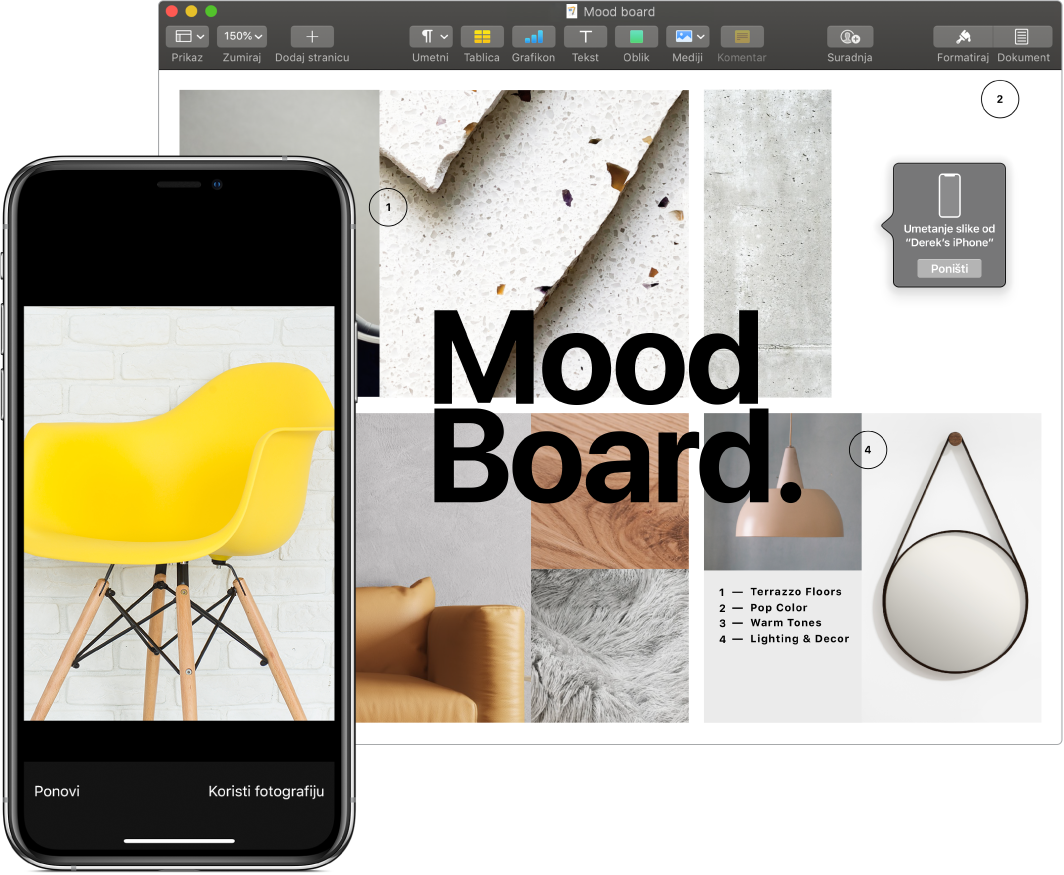 iPhone s prikazom fotografije i zaslon Mac računala s dokumentom aplikacije Pages s kućicom i upitom gdje će ići slika.