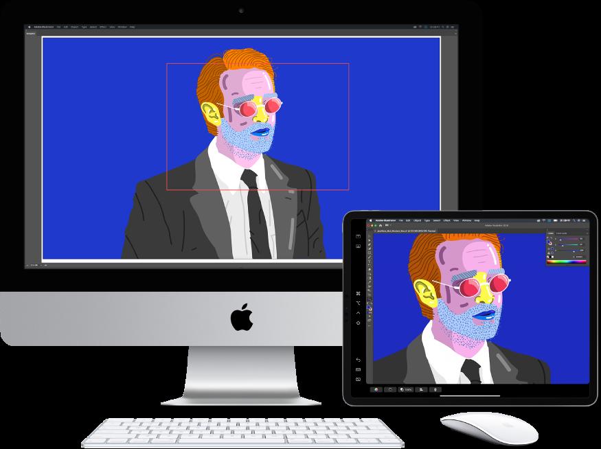 Een iMac en een iPad naast elkaar. Op de iMac wordt een illustratie weergegeven in het navigatiepaneel van Illustrator. Op de iPad is dezelfde illustratie te zien in het documentvenster van Illustrator, omgeven door knoppenbalken.