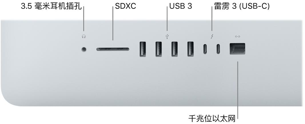 显示 3.5 毫米耳机插孔、SDXC 卡插槽、USB3 端口、雷雳3 (USB-C) 端口以及千兆位以太网端口的 iMac。