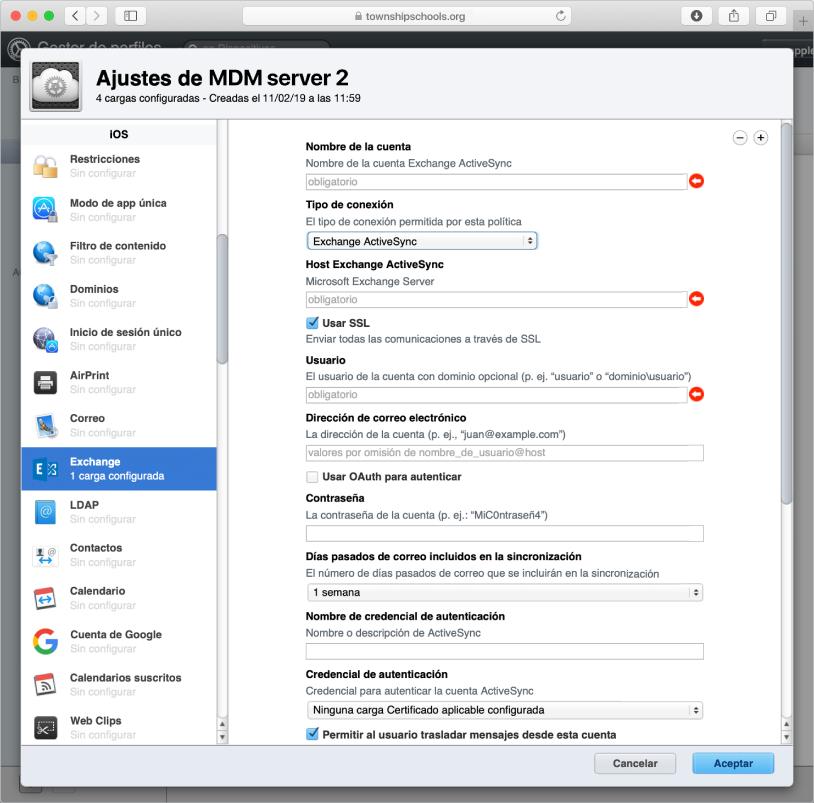Crea un perfil de configuración de ExchangeActiveSync para usuarios de dispositivos iPhone y iPad.