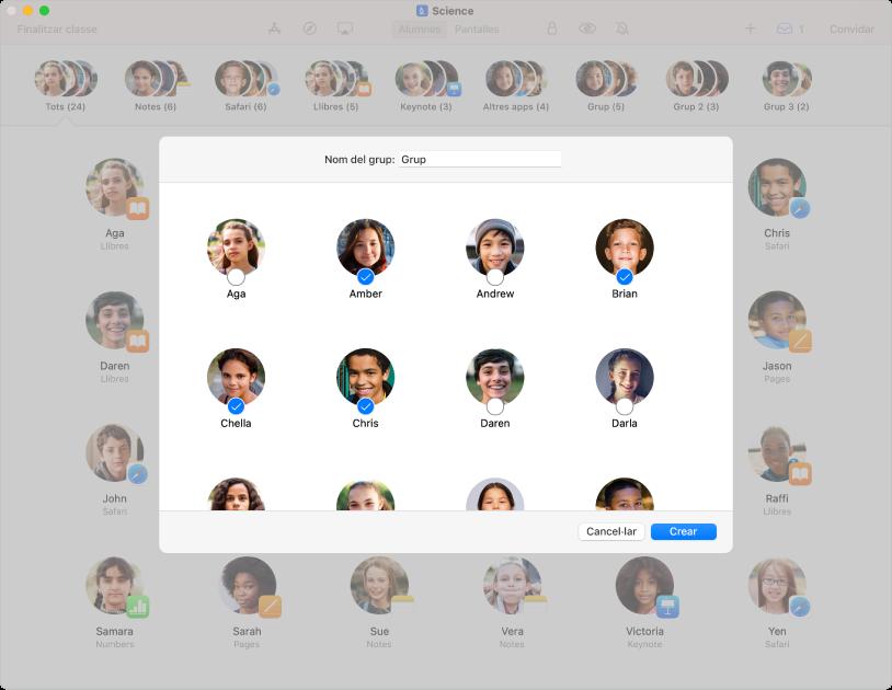 Finestra de l'app Aula que mostra els alumnes seleccionats per a una classe. A la part inferior del tauler d'invitació hi ha els botons Eliminar, Cancel·lar i Actualitzar.