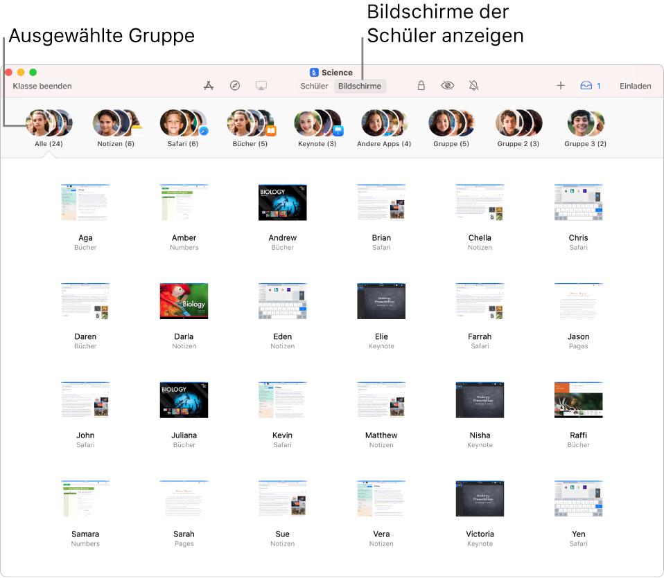 """Das Fenster der App """"Classroom"""" mit der in der Aktionsliste ausgewählten Taste """"Bildschirme"""" und den Bildschirmen einer ausgewählten Gruppe, die jetzt angezeigt werden können."""