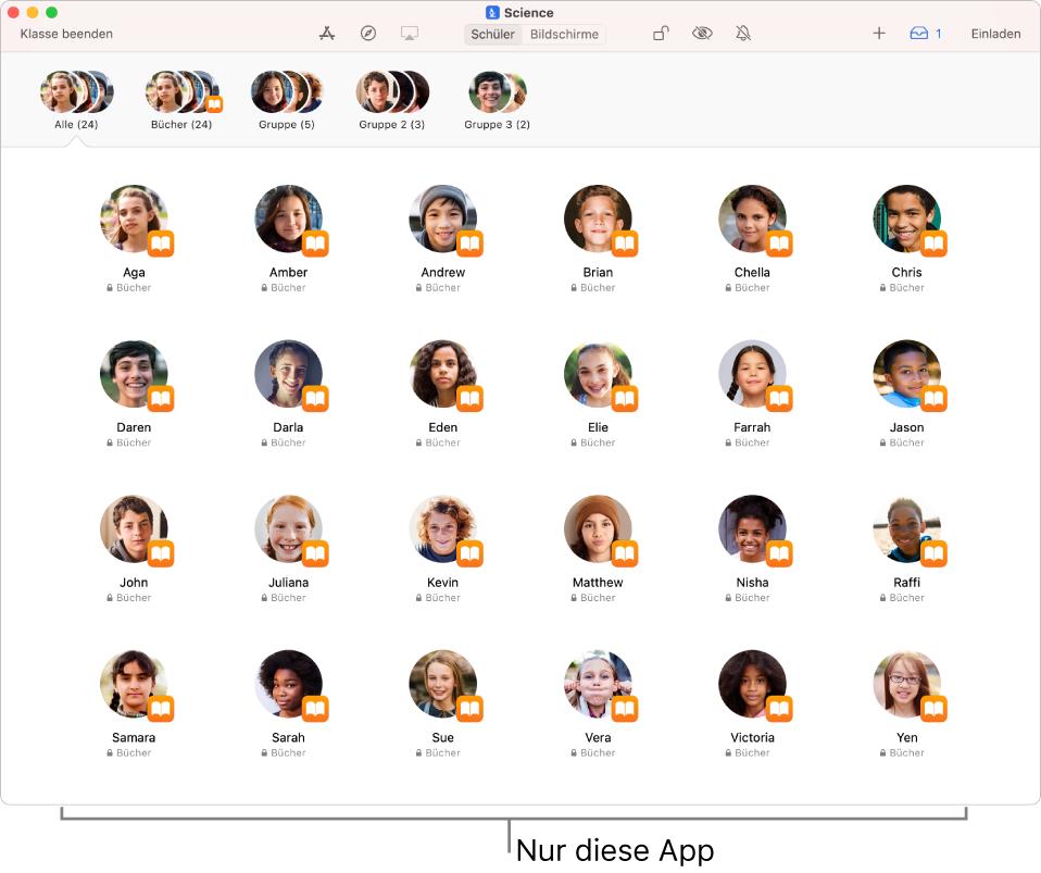 """Das Fenster der App """"Classroom"""" mit einer Gruppe von Schülern, für die eine App im geöffneten Zustand gesperrt ist."""