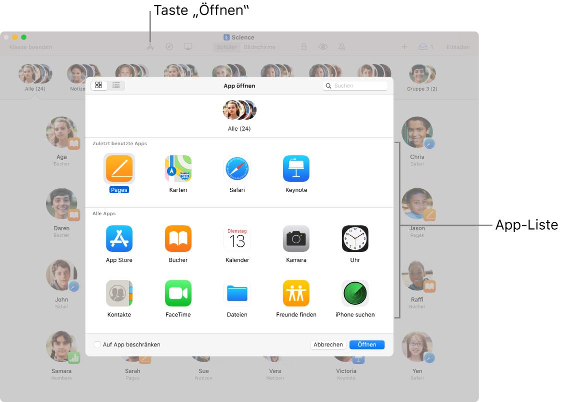 """Das Fenster der App """"Classroom"""" mit der Liste der verfügbaren Apps, die bei der Auswahl von """"Öffnen"""" angezeigt wird."""