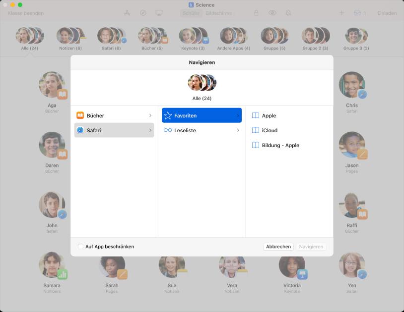 """Im Navigationsbereich des Fensters """"Classroom"""" ist eine Gruppe ausgewählter Schüler zu sehen und darüber stehen zwei Ziele zur Auswahl: die Apps """"Bücher"""" und """"Safari""""."""