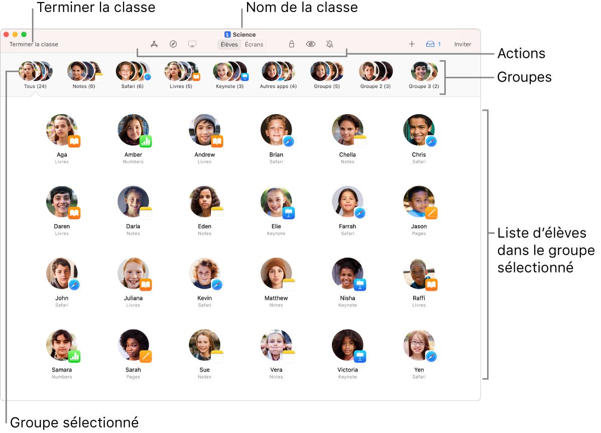La fenêtre principale d'Enclasse sur le Mac, affichant des actions pouvant être réalisées près du haut de la fenêtre.