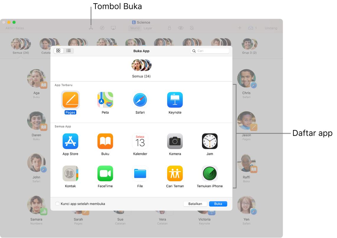 Jendela Ruang Kelas menampilkan app yang tersedia yang muncul saat Anda mengetuk Buka.