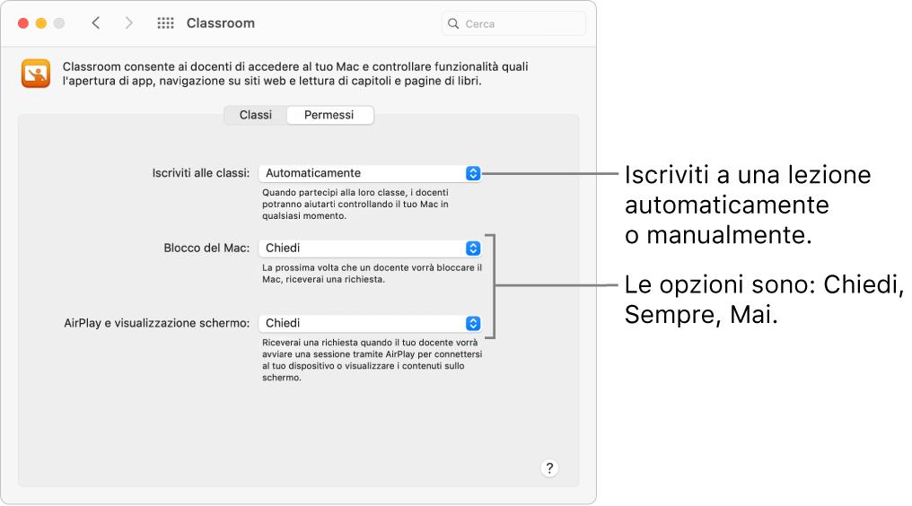 Visualizzazione delle autorizzazioni di Classroom disponibili per gli studenti.