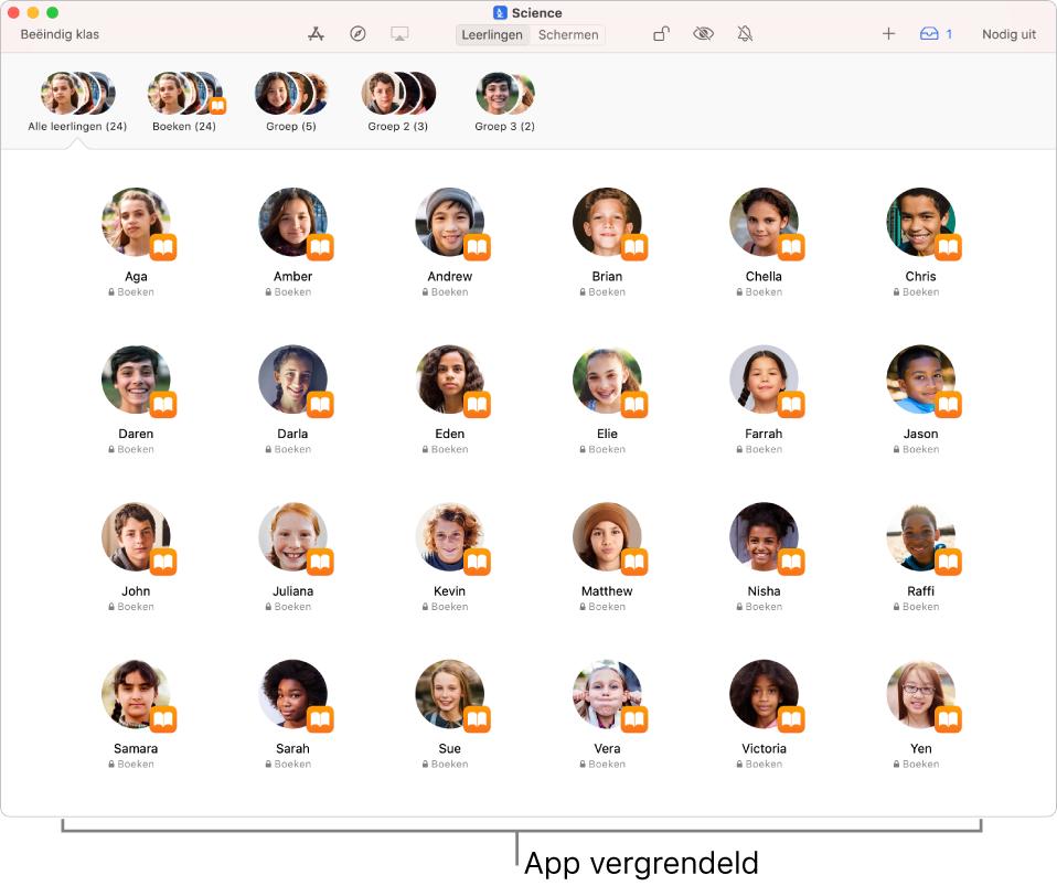 Het Klaslokaal-venster met een groep leerlingen voor wie een app vergrendeld is.