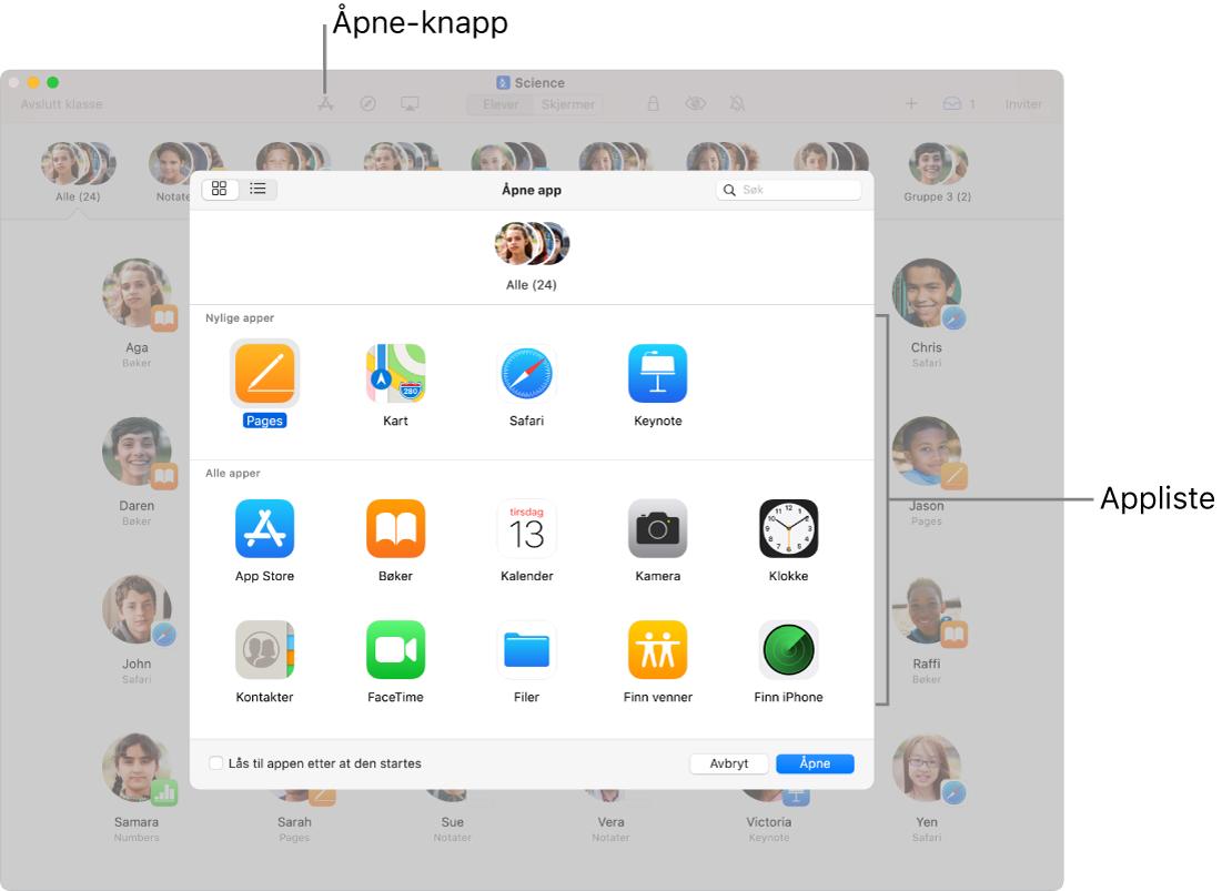 Klasserom-vinduet med tilgjengelige apper som vises når du trykker på Åpne.