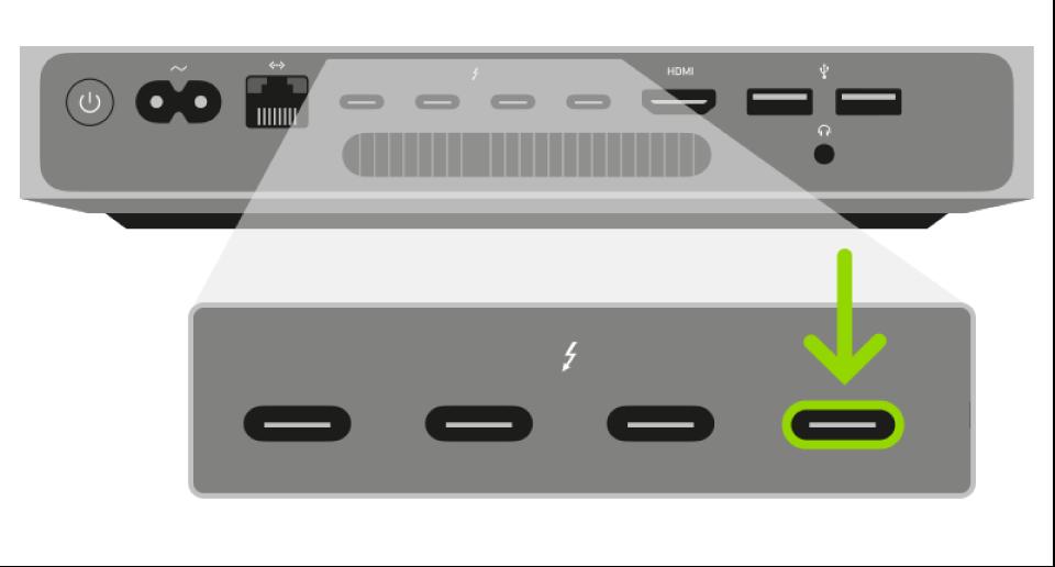 Mac mini의 Apple T2 보안 칩 펌웨어 되살리기 작업에 사용하는 Thunderbolt 포트.