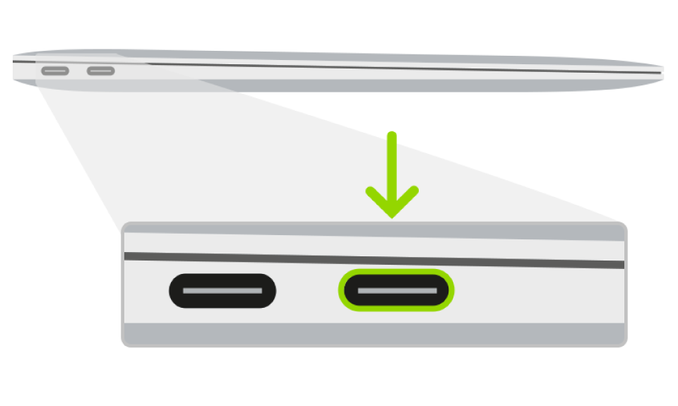 MacBook Air의 Apple T2 보안 칩 펌웨어 되살리기 작업에 사용하는 Thunderbolt 포트.