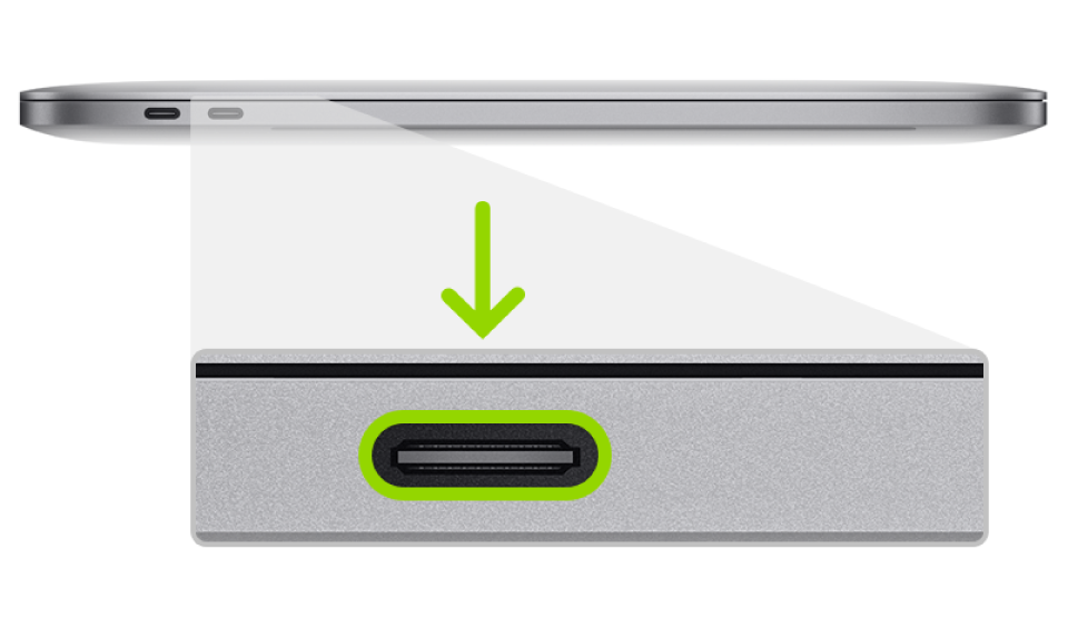 MacBook Pro의 Apple T2 보안 칩 펌웨어 되살리기 작업에 사용하는 Thunderbolt 포트.
