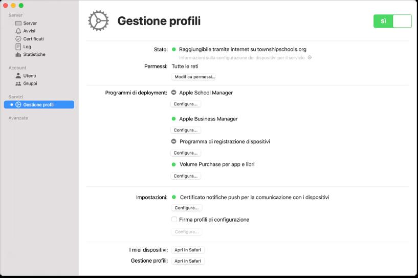 """""""Gestione profili"""" è attivato tramite l'app Server e configurato tramite l'interfaccia web """"Gestione profili""""."""