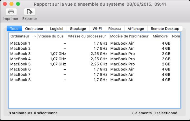 Fenêtre Rapport système