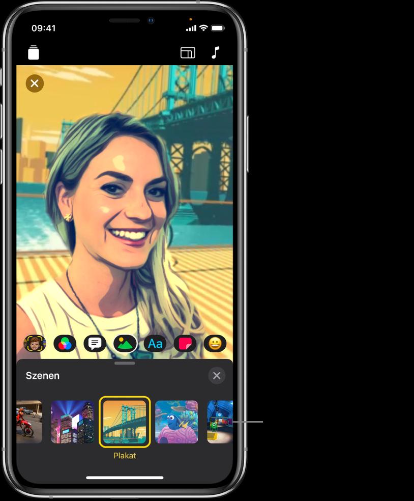 Eine Selfie-Szene im Viewer mit unten angezeigten Szenenoptionen.