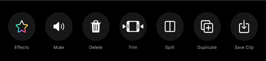 Buttons that appear below the viewer when a clip is selected. From left to right, the buttons are Effects, Mute, Delete, Trim, Split, Duplicate and Save Clip.